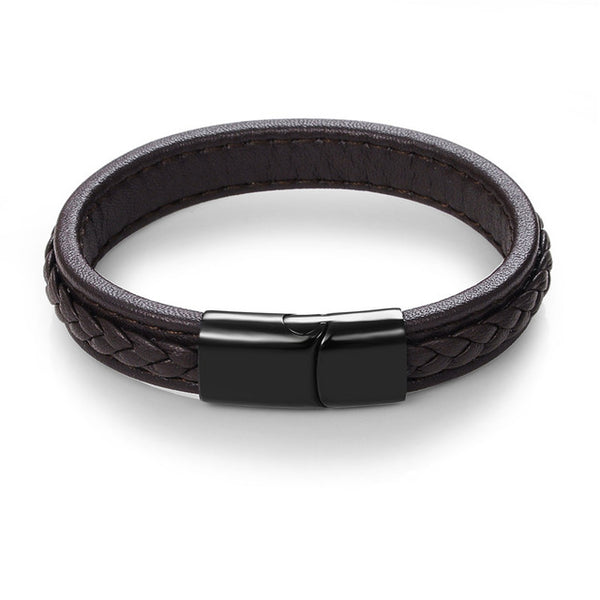 Leather and steel interwoven magnetic bracelet