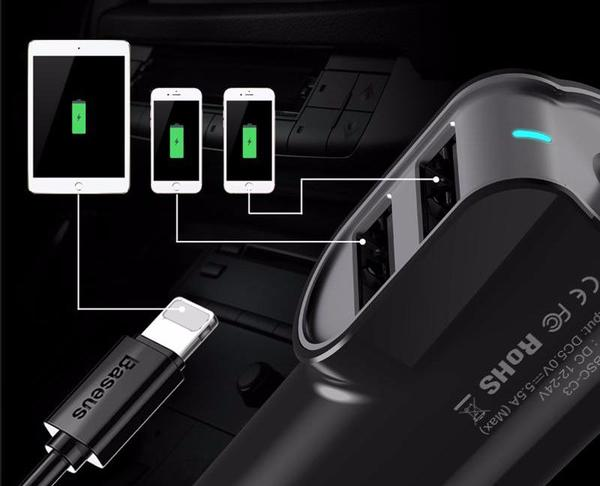 Car Charger – Incorporated Cable – Double USB Door