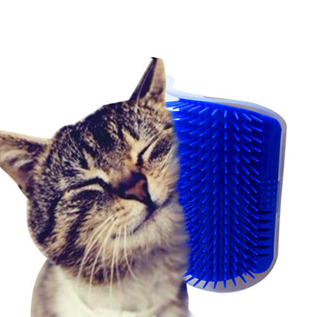 Angular self-massaging brush for cats