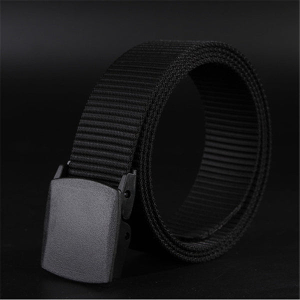 Casual travel belt with polymer buckle