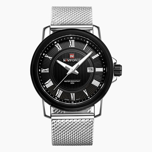 Military watch with Milanese knit strap