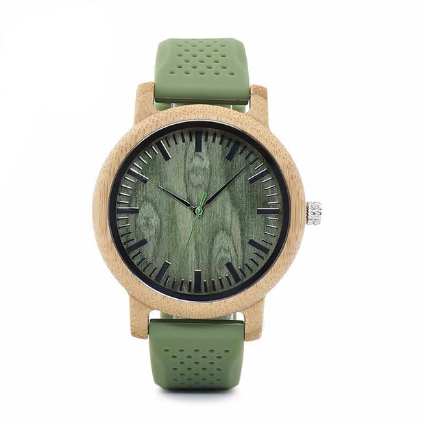 Bamboo wood watch with soft green silicone strap