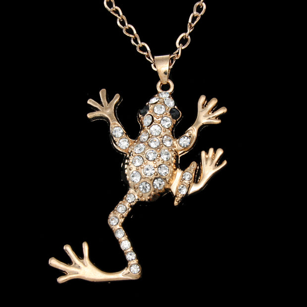 Necklace with Rhinestone Gecko Pendant