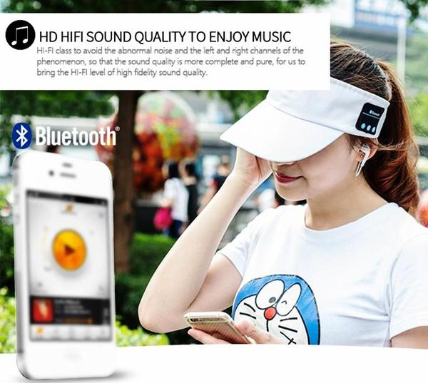 TENNIS&MUSIC Baseball cap style bluetooth headband with in-ear headphones