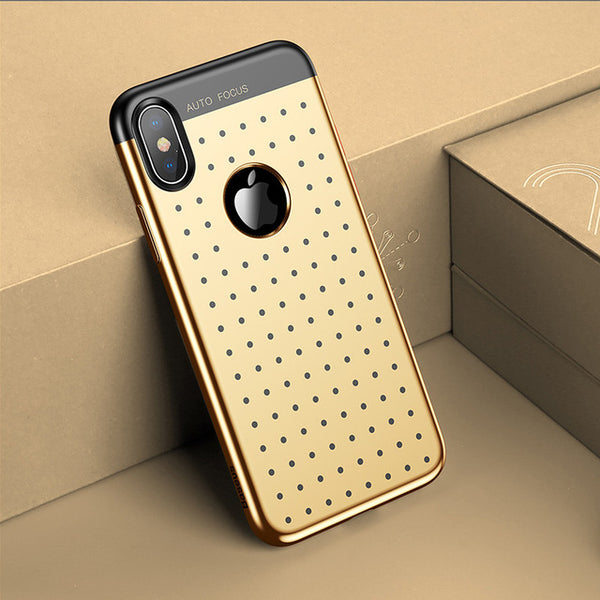 Auto Focus Electroplated Gold case for iPhone X