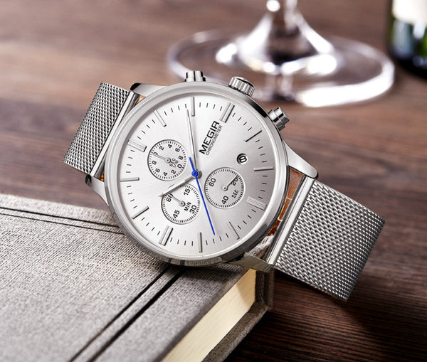 Luxury watch with stainless steel mesh
