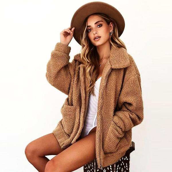 2019 Fashion warm Sherpa fur coat with large pockets