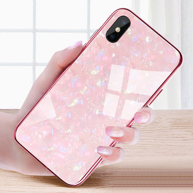 DIAMOND and CRYSTAL effect + tempered glass case for iPhone
