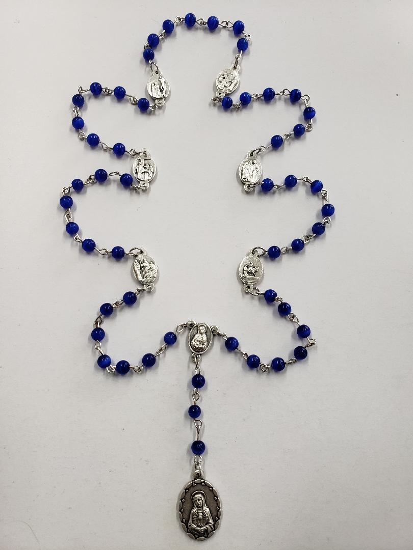 7 Sorrows Rosary Beads w/ Medals - Blue