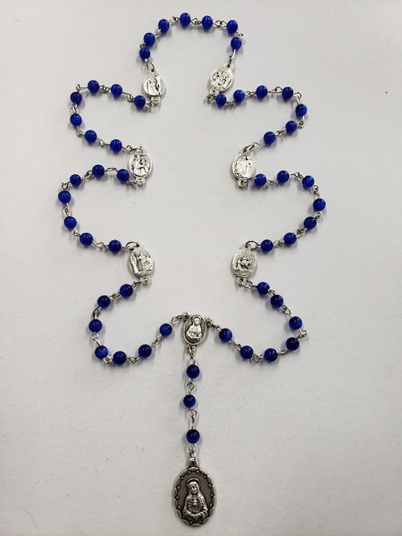 7 Sorrows Rosary Beads w/Medals-Blue