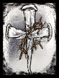 Nails & Crown of Thorns Cross Holy Card