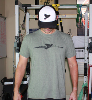 Men's Signature Military Green Heather Tee - Barbells & Birdies