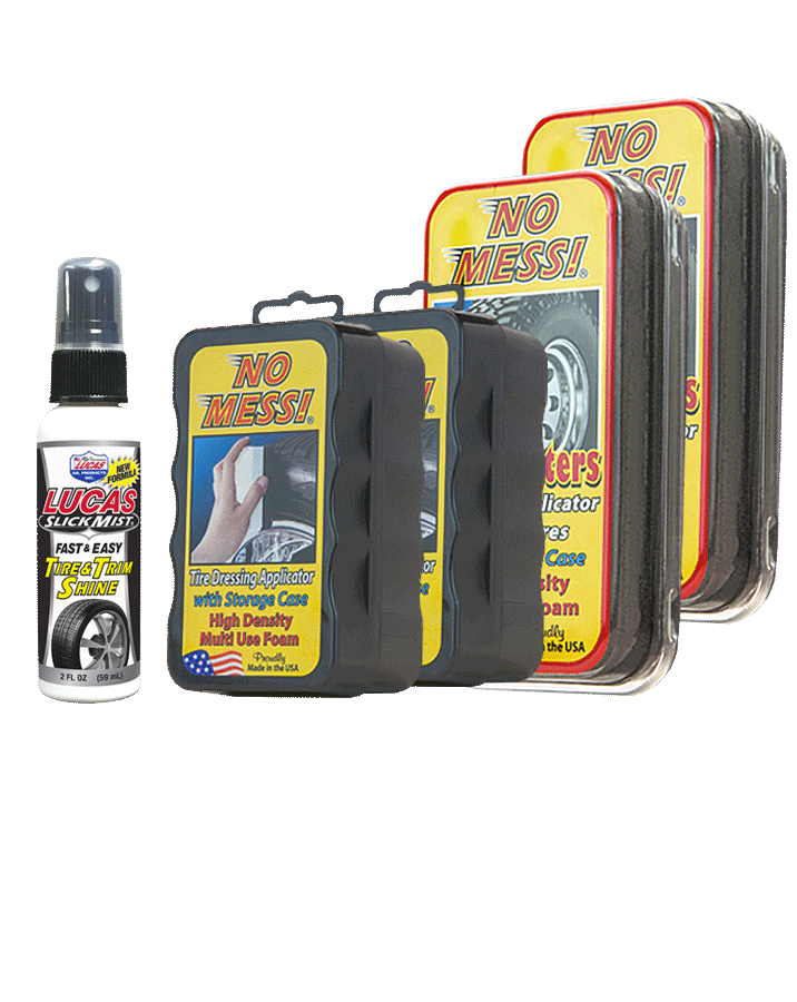 No Mess Tire Dressing Applicator and Lucas Oil Slick Mist tire dressing for cars and trucks