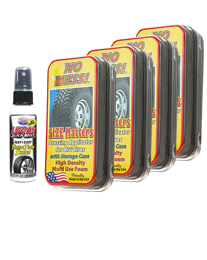 No Mess Tire Dressing Applicator and Lucas Oil Slick Mist tire dressing for offroad and monster trucks