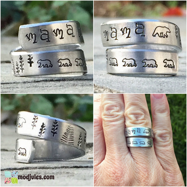 Hand Stamped Mama Bear Ring-Ring-Mod Jules