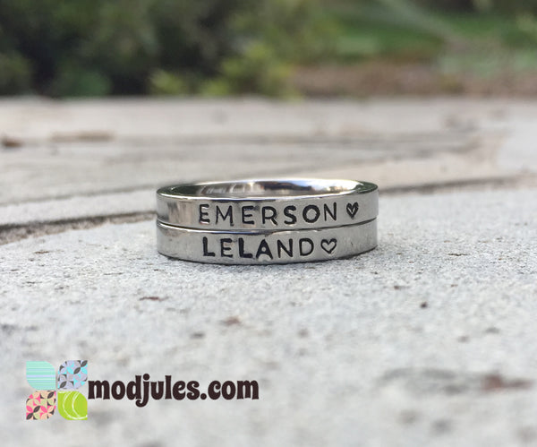 Personalized Stacking Stainless Steel Name Ring in Silver, Gold & Rose Gold-Ring-Mod Jules