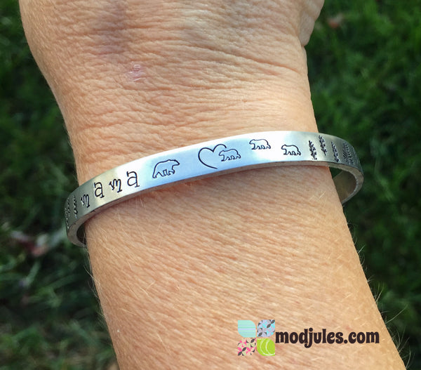 Hand Stamped Mama Bear and Cubs Cuff Bracelet-Bracelet-Mod Jules