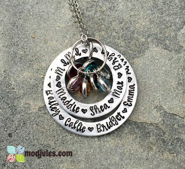 Personalized Grandmother or Mom Necklace with Grandchildren's or Kids' Names-Necklace-Mod Jules