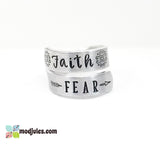 Faith Over Fear Hand Stamped Wrap Twist Ring-Ring-Mod Jules