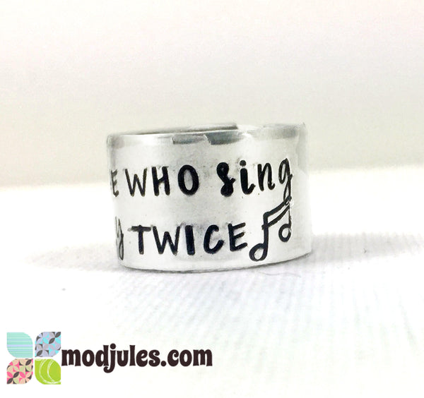 Those Who Sing Pray Twice Christian Music Adjustable Ring-Ring-Mod Jules
