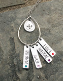 Personalized Necklace for Mom, Grandma with Couple's Initials, Children's Names and Birthstones-Necklace-Mod Jules