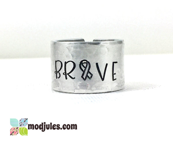 Cancer Awareness Brave Adjustable Hand Stamped Ring-Ring-Mod Jules