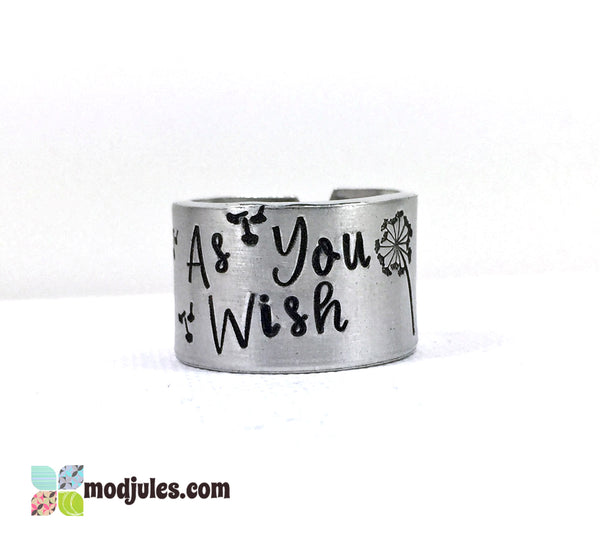 As You Wish Hand Stamped Romantic Quote Ring-Ring-Mod Jules