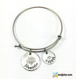 Personalized Momaste Yoga Bangle Bracelet with Kids Names with Lotus Flower-Bracelet-Mod Jules