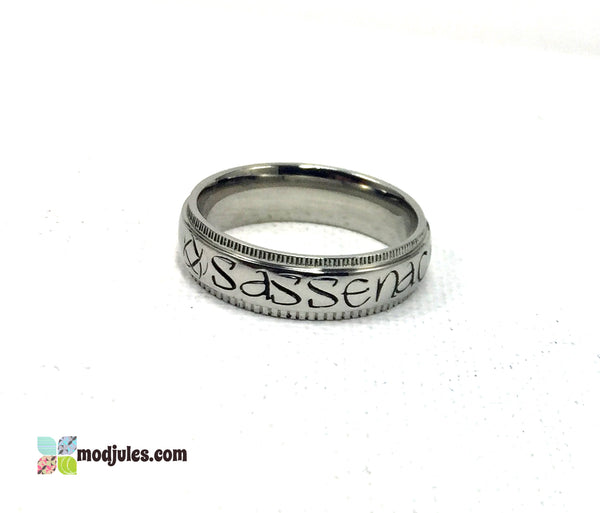 Stainless Steel Hand Stamped Sassenach Ring with Celtic Knots-Ring-Mod Jules