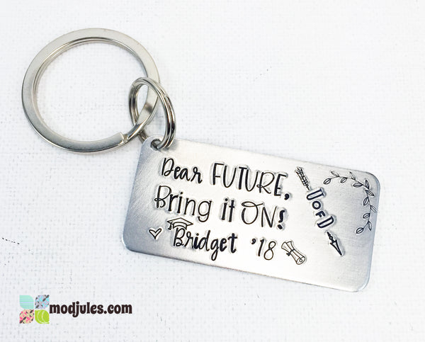 """Dear Future"" Personalized High School Graduation Keychain with Grad Name, Year and College-Keychain-Mod Jules"