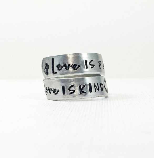1 Corinthians 13: Love is Patient Love is Kind Hand Stamped Twist Wrap Christian Ring-Jewelry-Mod Jules