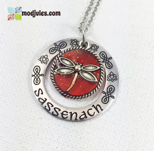 Engraved Sassenach Dragonfly in Amber Outlander-Inspired Necklace-Necklace-Mod Jules