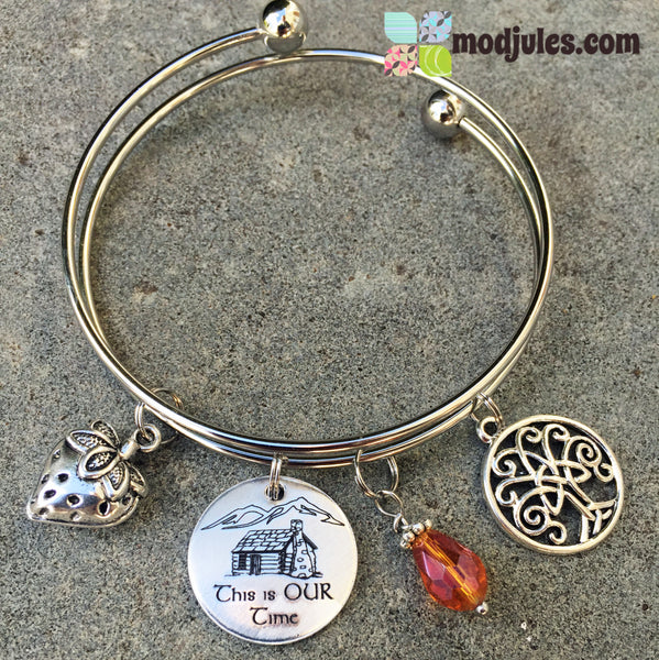 Drums of Autumn Stainless Steel Bangle Bracelet with Strawberry, Log Cabin, Fraser's Ridge, & Celtic Tree of Life Charms - Outlander Inspired-Bracelet-Mod Jules