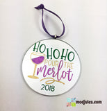 """Ho Ho Ho Pour the Merlot"" Funny Wine Quote Christmas Tree Ornament-Ornament-Mod Jules"