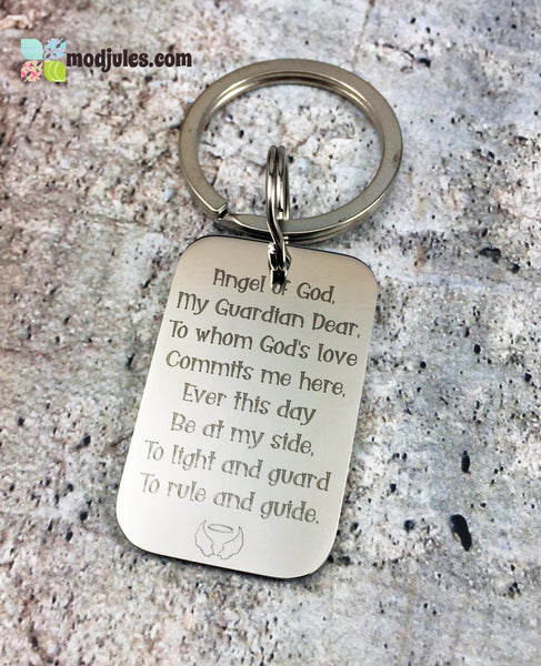 Catholic Guardian Angel Prayer Keychain-Keychain-Mod Jules