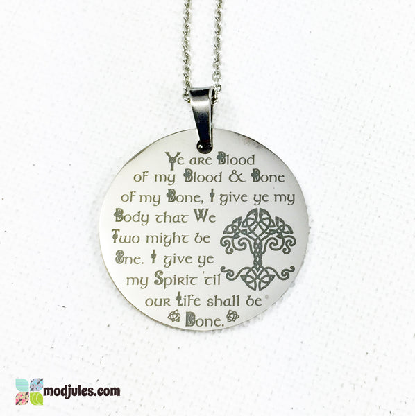Engraved Scottish Wedding Vows Necklace, Blood of My Blood Outlander-inspired Celtic Tree of Life Necklace-Necklace-Mod Jules