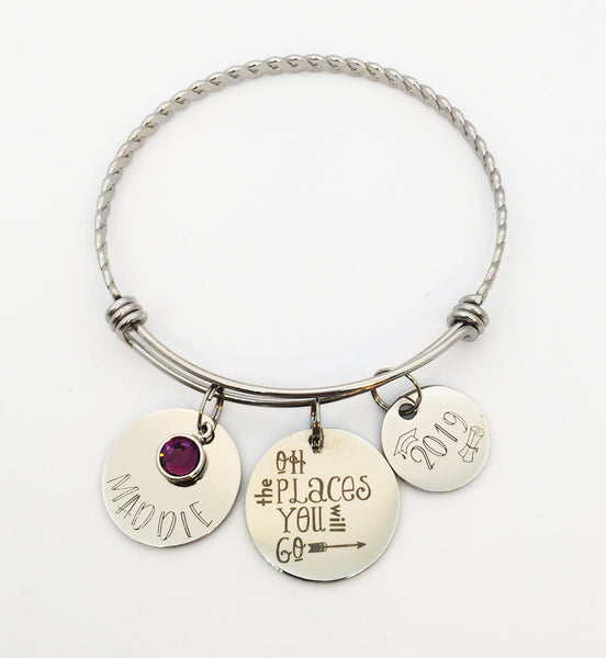 Oh the Places You Will Go Personalized Graduation Bangle Bracelet-Bracelet-Mod Jules