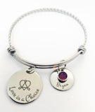 Engraved Stainless Steel Love is a Choice Adoption Bangle Bracelet with Birthstone and Child's Name-Bracelet-Mod Jules
