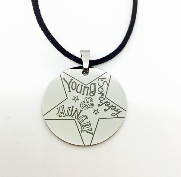 Hamilton-Inspired Engraved Stainless Steel Young Scrappy and Hungry Necklace-Necklace-Mod Jules