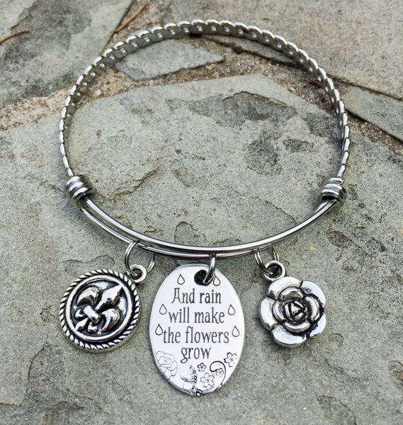 Les Miserable Eponine Quote. Rain will Make the Flowers Grow, Bangle Bracelet-Jewelry-Mod Jules