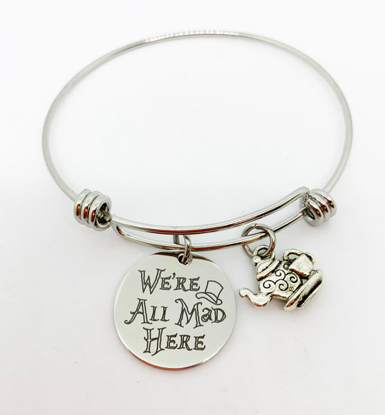 We're All Mad Here, Alice's Adventures in Wonderland Inspired Bangle Bracelet with Optional Name & Birthstone Charms-Bracelet-Mod Jules