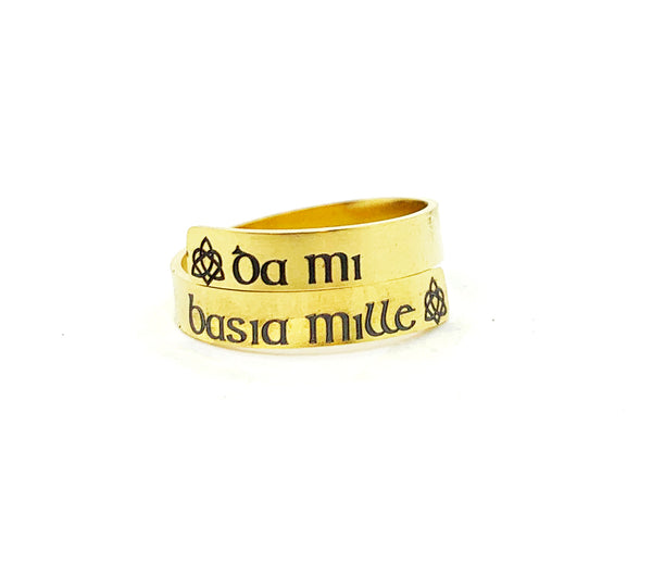Engraved Stainless Steel Da Mi Basia Mille Celtic Ring - Give Me One Thousand Kisses-Ring-Mod Jules