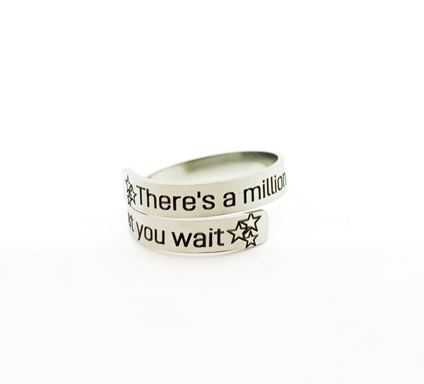 Engraved Stainless Steel Just You Wait Alexander Hamilton Inspired Ring-Ring-Mod Jules