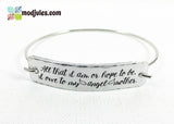 Engraved Abraham Lincoln Angel Mother Quote Bangle Bracelet-Bracelet-Mod Jules