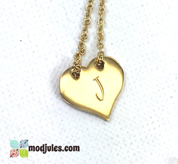 Small Gold Stainless Steel Heart Necklace-Necklace-Mod Jules