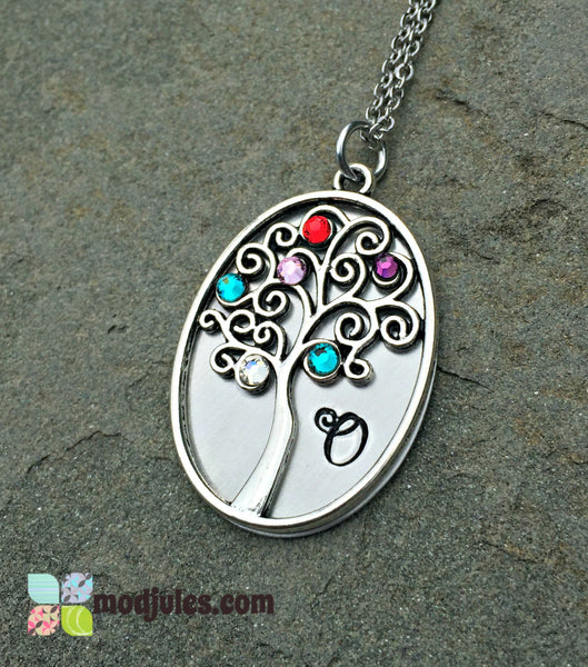 Personalized Family Tree Necklace with Birthstones-Necklace-Mod Jules