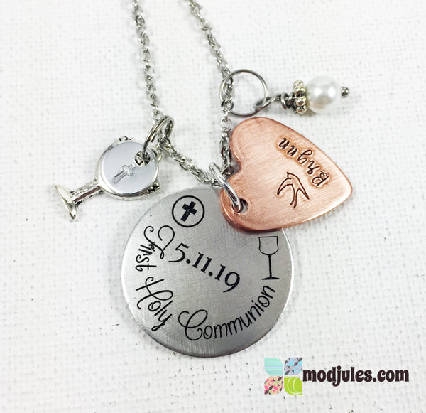 Personalized First Communion Necklace with Name and Date-Jewelry-Mod Jules