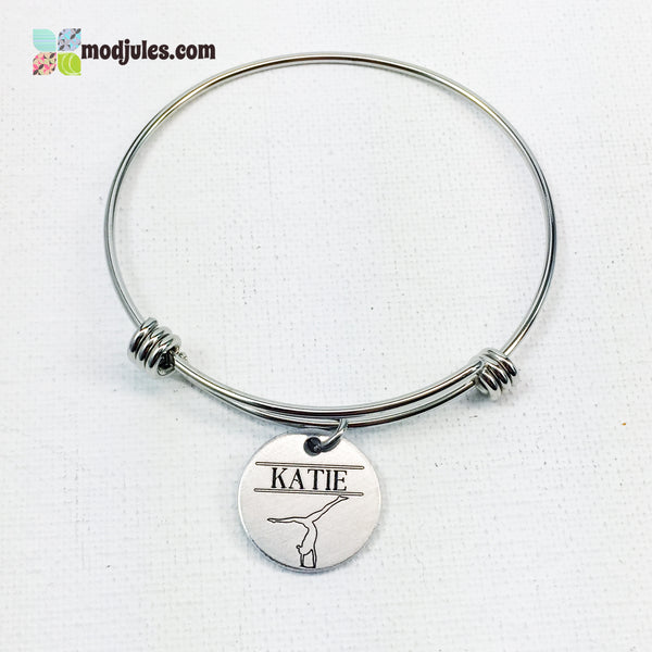 Personalized Gymnastics Bangle Bracelet or Necklace-Bracelet-Mod Jules