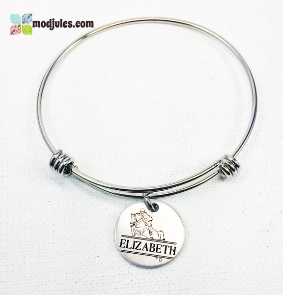 Personalized Engraved Equestrian Horseback Riding Bangle Bracelet or Necklace-Bracelet-Mod Jules