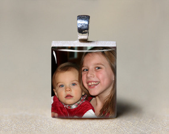 Custom Photo Jewelry, Use Your Own Picture-Scrabble Pendant-Mod Jules